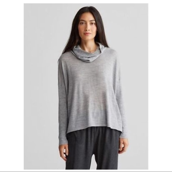 6c98349edcf Eileen Fisher Tops - Eileen Fisher Gray Merino Wool Cowl Neck-L